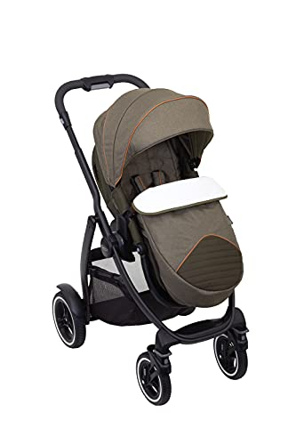 Graco Evo XT Pushchair/Stroller (birth up to approx. 3 years (0-15kg)) with Luxury Footmuff and Raincover, Khaki