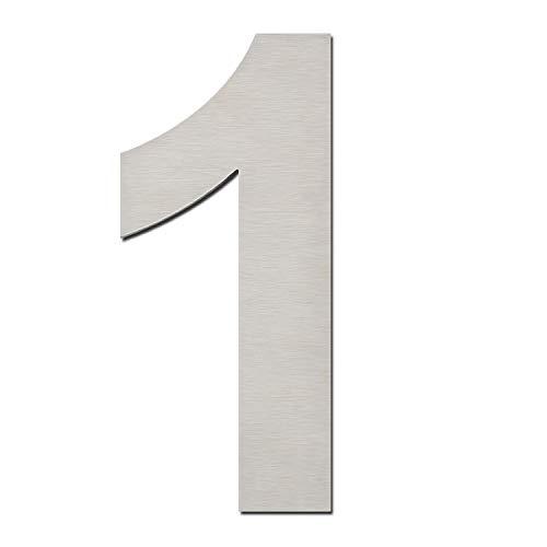 Hausnummer, gebürstet, modern, 152 mm hoch, aus massivem 304 Edelstahl, schwebende Optik und einfache Montage (Nummern 1 Eins)