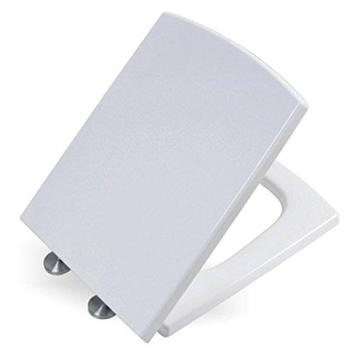 Toilettendeckel mit Absenkautomatik | eckig | WC-Sitz per Knopfdruck leicht zu entfernen | Leicht zu reinigen | Duroplast: Belastbar und kratzfest | Weiß | MN2006