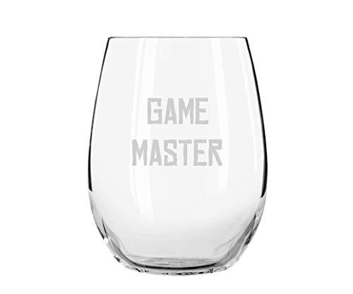 Game Master - Copa de vino grabada grabada para barware sin tallo, vaso de vino RPG Drinkware Gm regalo Pathfinder Shadowrun, 17 onzas