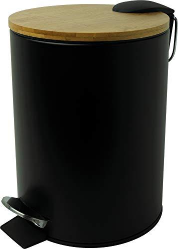 Helit - Pattumiera a pedale'the bamboo', 3 litri, in metallo, con coperchio in bambù, contenitore in metallo, chiusura silenziosa, 1 pezzo 3 Liter Nero