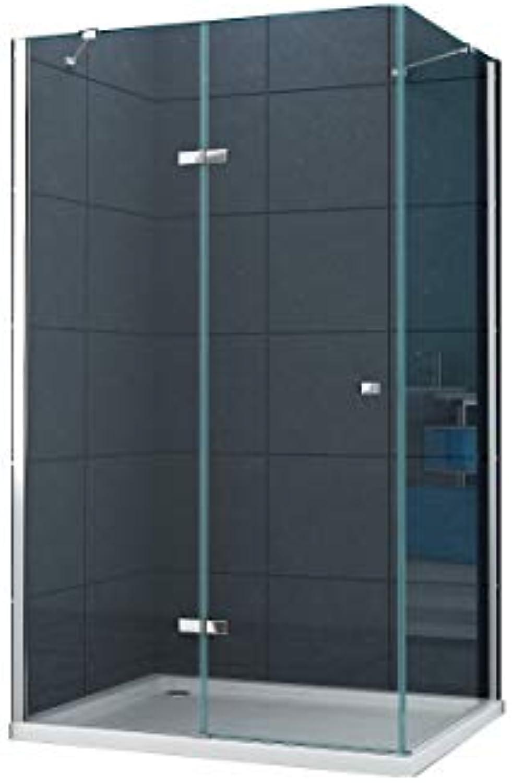 Eckeinstieg Duschkabine Dusche Stuttgart 90 x 75 x 195cm   8 mm ohne Duschtasse