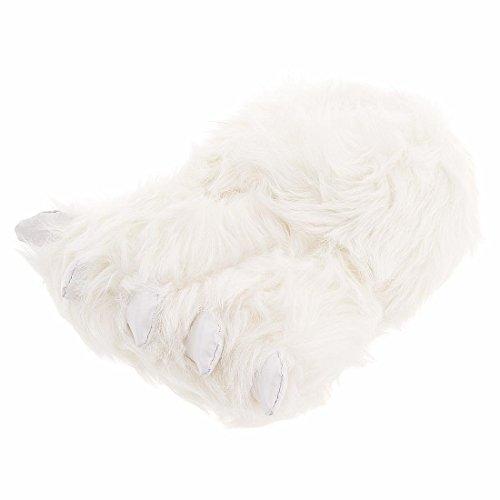 Fuzzy Polar Bear Paw Slippers for Men and Women Medium White