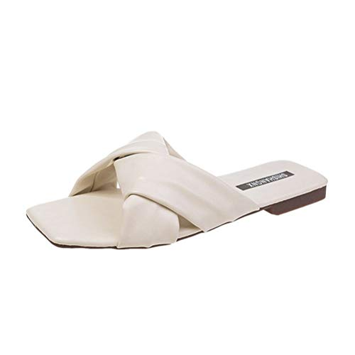 Dames Open teen Sandalen Platte Kruisband Sandalen voor Zomer Buiten, Strand, Binnen