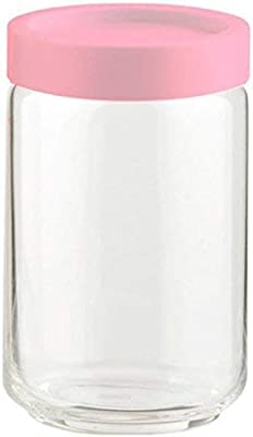 Ocean STAX Glass Jar Set with Pink Lid, 750 ml, Set of 6, Transparent