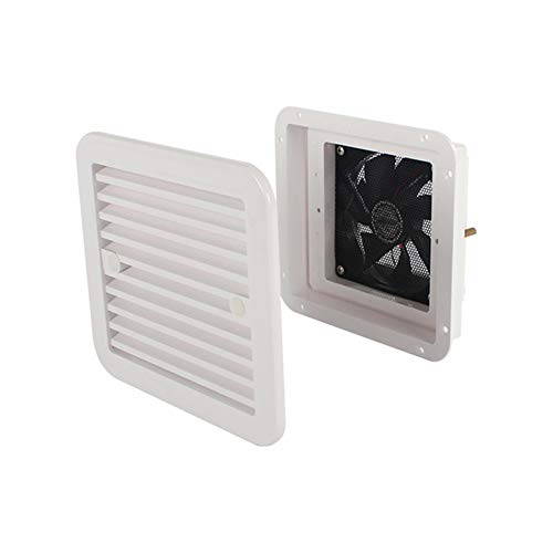 iSpchen 12V Air Vent Ventilation for Motorhome, RV Roof Vent Refrigerator Vent with Fan for RV Trailer Caravan Side Air Strong Wind Exhaust Car Accessories Car Styling Camper White 011062