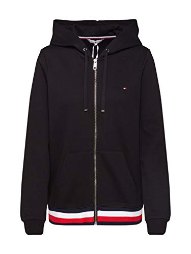 Tommy Hilfiger Damen Sweatjacke Zip-Through Hoodie schwarz XS