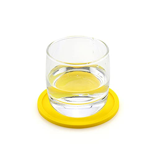 1PC Waterproof Safe Silicone Round Cup Mat Insulation Mug Coaster Thick Cup Bowl Placemat Pad Holder Tools-Yellow