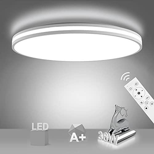 NIXIUKOL Plafon LED Techo Regulable 36W Lámpara de Techo Regulable con Mando a Distáncia IP54 Impermeable 3000K-6500K Lampara Techo Luz para Dormitorio, Sala de Estar, Cocina, Baño, Pasillo etc 33cm