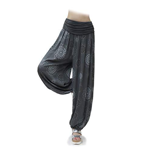 Glamexx24 Damen XXL Leichte Pumphose Haremshose Freizeithose Sommerhose Hose mit vielen Muster 13090, Dunkelgrau 2, XL/XXXL