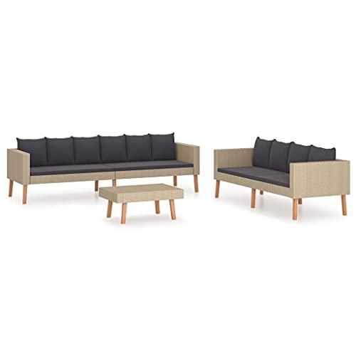 vidaXL Gartenmöbel 3-TLG. mit Auflagen Sitzgruppe Lounge Sofa Garnitur Sitzgarnitur Gartenset Couchtisch Couch Gartensofa Poly Rattan Beige