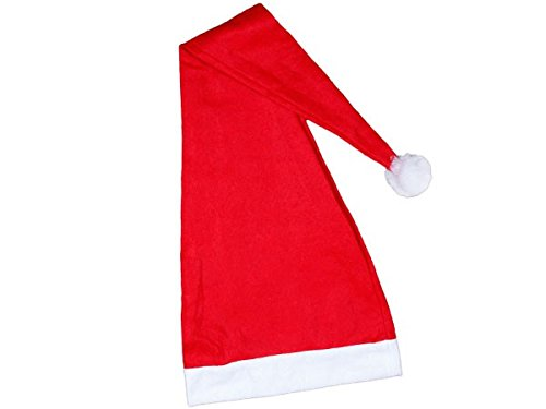 Alsino Bonnet de Noel (wm-06) Long Environ 90 cm Chapeau de Père Noël pour Adultes Rouge et Blanc en Feutre avec Pompon Taille Unique Accessoire Fête Homme et Femme