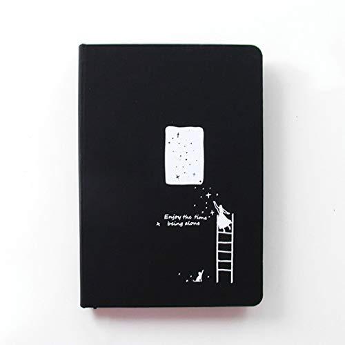 Cuaderno con Estrella Negra, Cuaderno de Tapa Dura, Diario de Bricolaje, Cuaderno de Dibujo de Papel Negro en Blanco, 96 Hojas, Bloc de Notas, Oficina Escolar