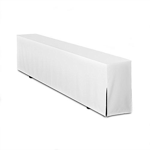 TexDeko 4er Pack Bierbankhussen Qualität Basic Lang 220cm Hussenlänge (Weiß)