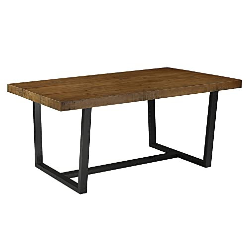 Walker Edison Linden Rustic Urban Metal and Solid Wood Dining Table, 72 Inch, Rustic Oak