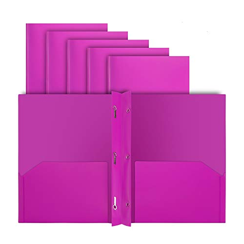 COMIX 2 Pocket Letter Size Poly File Plastics Folders with 3-Prong Fastners - 12 Packs (Pink)