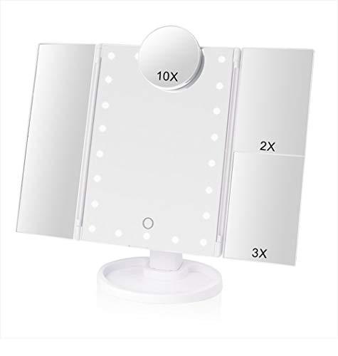 Kosmetikspiegel,Schminkspiegel mit 22 LED Leuchtmittel dimmbar Touchscreen faltbar dimmbar USB Lade Batteriebetriebene 180 Grad einstellbar Drehung 2X 3X 10X Vergrößerungsspiegel für Home Beauty