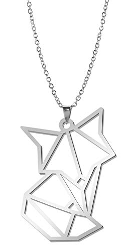 fishhook Origami Necklace Cute Animal Fox Stainless Steel Silver Tone Pendant Chain Necklace for Women Men Girls