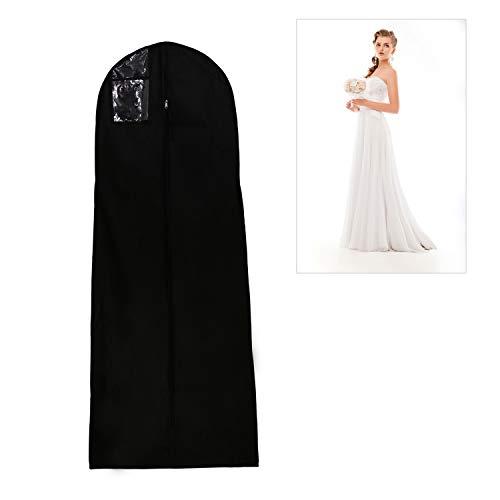 Afufu Atmungsaktiver Kleidersack für Hochzeitskleider Schutzhülle für Brautkleider/Abendkleider/Anzüge/Mäntel 180 cm (Schwarz)