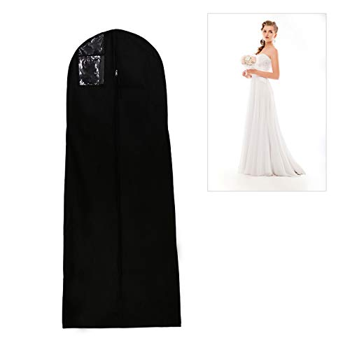 Afufu, ademende kledingzak, voor bruiloftsjurken, beschermhoes, voor bruidsjurken, avondjurken, pakken, jassen, 180 cm, kleur: zwart