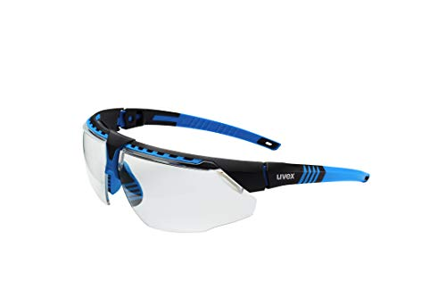 UVEX by Honeywell Avatar Safety Glasses, Blue Frame with Clear Lens & HydroShield Anti-Fog Coating (S2870HS)