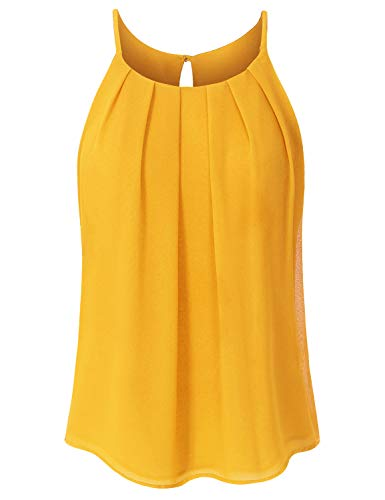 JSCEND Women's Round Neck Pleated Double Layered Chiffon Cami Tank Top A-Mustard S