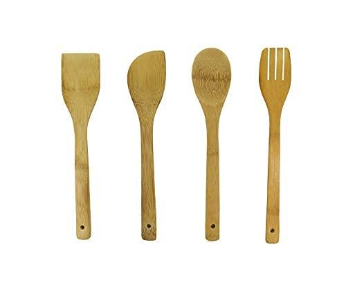 Utensilios de cocina de madera de bambú. Accesorios para tu cocina, espátula de madera, cuchara de madera y cuchara ranurada, juego utensilios de cocina resistentes y fácil de limpiar