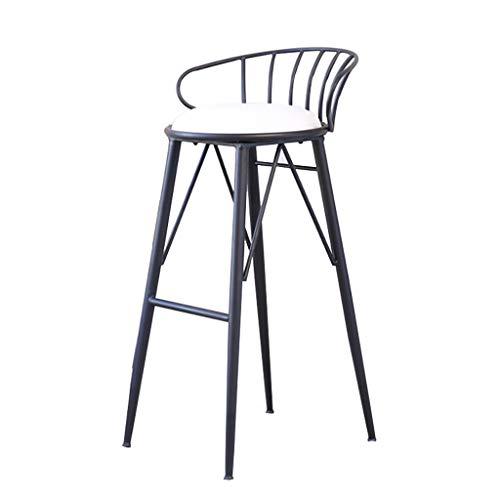 LZY Sgabello da Bar Moderno in Stile Nordico/Sgabelli da Bar Sedia da Bar in Ferro con Poltrona in Metallo Nero + Sedile con Cuscino in Flanella, per bancone da Pranzo da Cucina,Sitting Height: 65cm