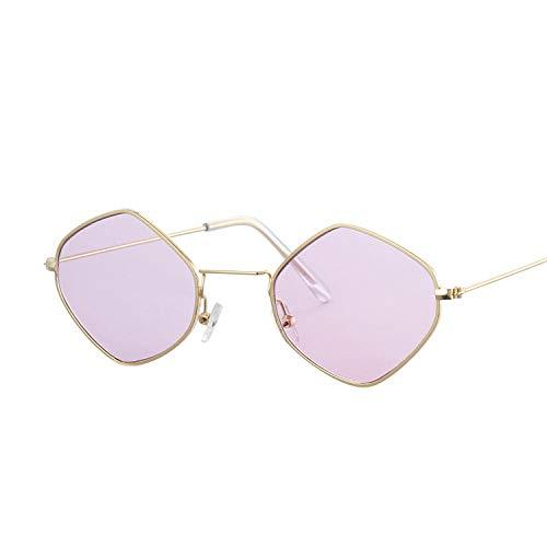 OcchialidaSole Occhiali da Sole Quadrati Vintage Occhiali da Sole con Lenti da Donna Occhiali da Sole con Montatura Piccola Moda Femminile Uv400-Gold_Purple