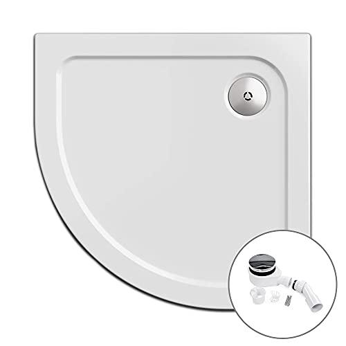 Plato de ducha, círculo cuarto 90 x 90 cm | Nordona® SIMPLEX | altura de construcción especialmente plana: 5,5 cm | con sifón versoflat
