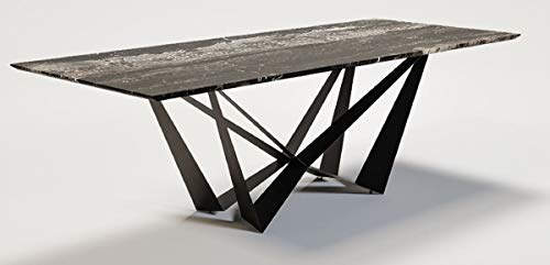 Casa Padrino Mesa de Comedor de Lujo Multicolor/Negro 240 x 120 x A. 76 cm - Mesa de Cocina Rectangular con Tapa de mármol - Muebles de Comedor de Lujo