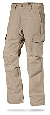 LA Police Gear Mens Urban Ops Tactical Cargo Pants - Elastic WB - YKK Zipper - Khaki - 38 x 30