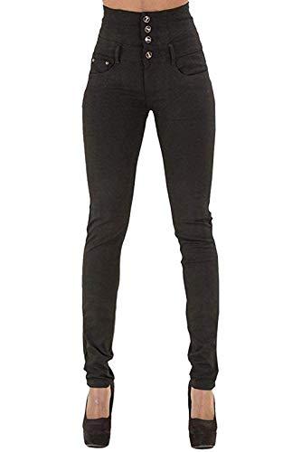 Yidarton Jeans für Damen Vintage Lässige Dünn Denim Strecken Schlank Hochbund Knopfleiste Jeanshose Röhrenjeans Push Up Hose (Schwarz, L)