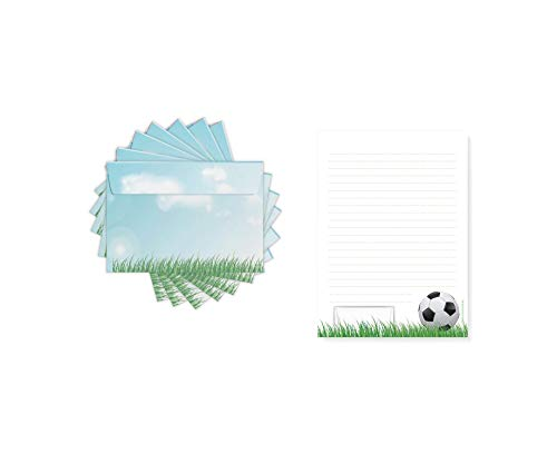 Friendly Fox Kinder Briefpapier Fussball - Briefblock/Schreibblock mit Linien - A5 Briefblock mit 50 Blatt inkl. 20 Umschlägen - Briefpapier Set für Fußball Fans (Jungen & Mädchen)