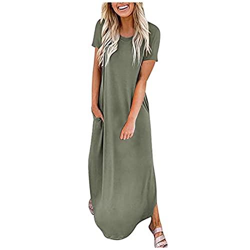 Dresses for Women, SHOBDW Ladies Solid Short Sleeve Pocket Casual Floral Summer Beach Long Maxi Loose Dress Female Plus Size Boho Kaftan Shirtdress(#1 Army Green,S)