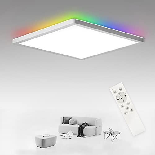 SHILOOK Lámpara LED de techo plana regulable con mando a distancia, 24 W, RGB, cambio de color, cuadrada, para dormitorio, salón, baño, cocina, sótano, IP44, resistente al agua, color blanco
