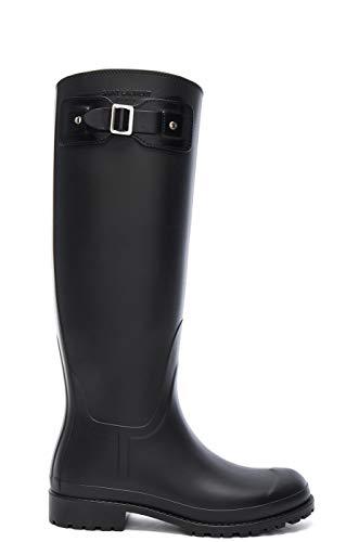 Saint Laurent Women's Black Rubber Festival Buckle Rain Boots Shoes, 5, Black