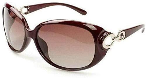 Gafas de sol con diseño de moda para mujer, tamaño grande, protección degradada, polarizada, lentes solares (color: marco negro)