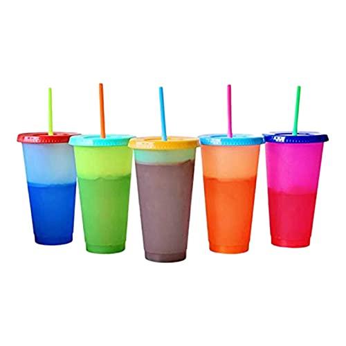 N\C Tetera de plástico con taza fría que cambia de temperatura, 710 ml, taza mágica de café, con pajita y tapa