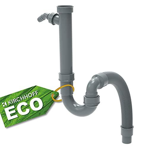 KIRCHHOFF ECO-SAVE Flex Siphon Küchenspüle, Abfluss für Spüle Küche aus recyceltem Kunststoff, Ablaufgarnitur mit Anschluss für Waschmaschine oder Geschirrspüler 98836549, Grau