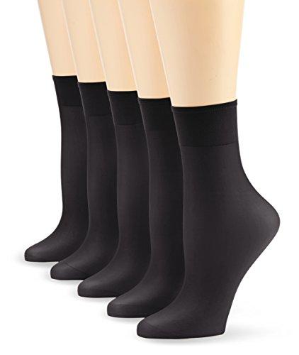 Nur Die Damen Socken 625869/5er Pack Söckchen Seidenfein, 15 DEN, Gr. One size, schwarz (schwarz 094)