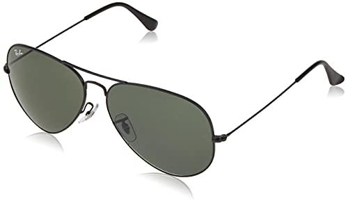 Ray-Ban RB3025 Classic Aviator Sunglasses, Black/Green Polarized, 58 mm