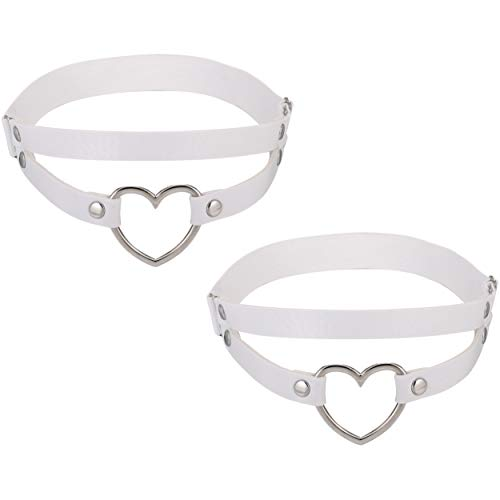 FM FM42 White PU Simulated Leather Women's Gothic Double Straps Heart O Ring Leg Thigh Elastic Garter Belt, One Pair