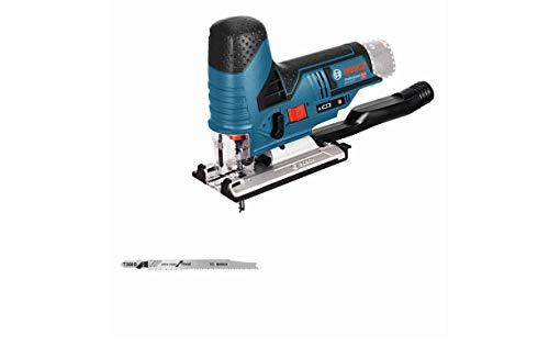Bosch Professional 12V System Akku Stichsäge GST 12V-70 (Schnitttiefe in Holz: 70 mm, ohne Akkus und Ladegerät, inkl. 2x Sägeblatt, Gleitschuh, Spanreißschutz, im Karton)