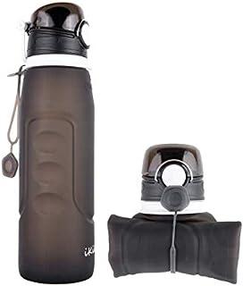 シリコン折りたたみ式ウォーターボトル、IKiKin 折り畳み式シリコーンBPAフリーウォーターボトル漏れのない大容量アウトドアスポーツウォーターボトルのエスケープ (黒)