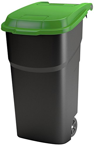 Rotho Atlas Mülltonne 100 l, Kunststoff (PP), schwarz/grün, 100 Liter (59 x 51 x 92 cm)