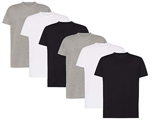 VM - Pack de Camisetas Básicas de Manga Corta para Hombre, Disponible Desde Talla S hasta 2XL, Camisetas 100% Algodón, Camisetas Casual, Deporte o Interior (Pack 2 Blancas + 2 Negras + 2 Grises, M)