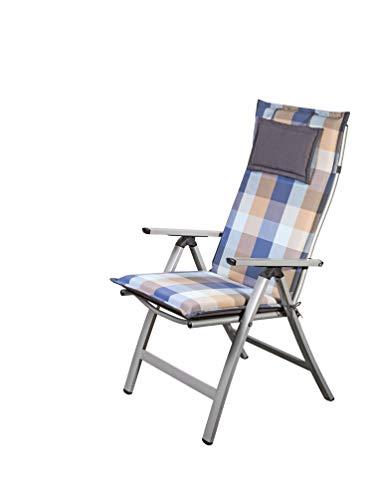 Homeoutfit24 Sun Garden 1-Stück Gartenstuhl-Auflage Donau in Blau/Beige, gepolstertes Sitzkissen mit Kopfpolster für Hochlehner-Gartenmöbel, abnehmbar und waschbar, 120 x 50 x 6 cm
