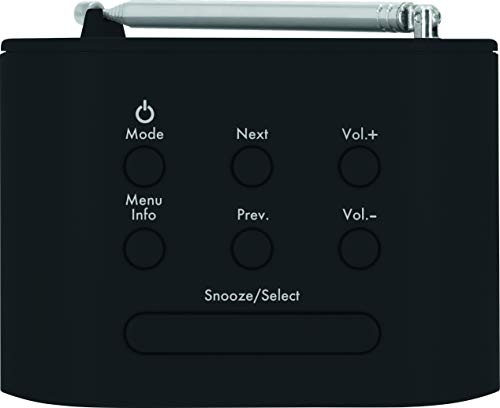 TechniSat TECHNIRADIO 40 - DAB+ Radiowecker (DAB, UKW, Wecker mit zwei einstellbaren Weckzeiten, Sleeptimer, Snooze-Funktion, dimmbares LCD Display, USB Ladefunktion) schwarz