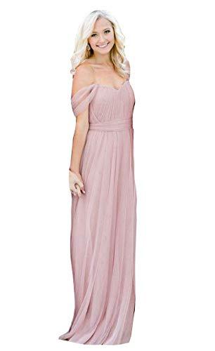 Fanciest Women's Off The Shoulder Tulle Long Bridesmaid Dresses 2020 Wedding Party Dress Blush US6